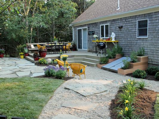 decking and backyard landscape
